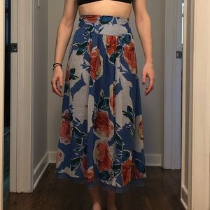 Aerie Multi Color Floral Maxi Skirt